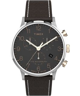 Waterbury-40mm-Classic-Chrono-Leather-Strap-Watch Stainless-Steel/Brown large