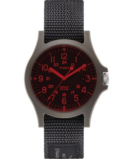 Acadia 40mm Fabric Strap Watch with Colored Lens Black large
