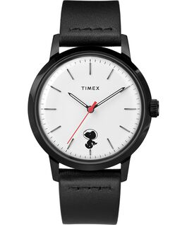 Timex x Snoopy Space Traveler Marlin Automatic 40mm Leather Strap Watch Stainless-Steel/Black/White large