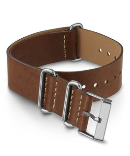 20mm Leather Slip Thru Double Layer Strap Brown large
