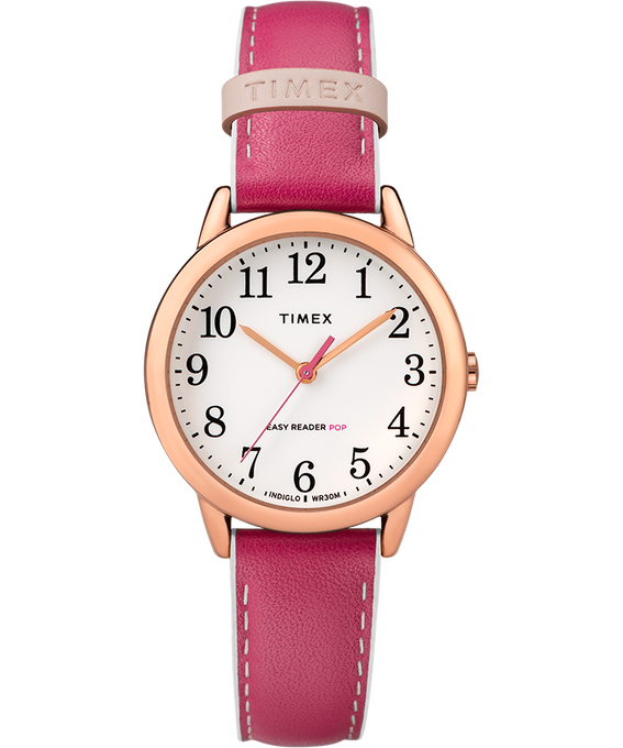 Easy-Reader-30mm-Exclusive-Color-Pop-Leather-Womens-Watch Or rose/Rose/Blanc large