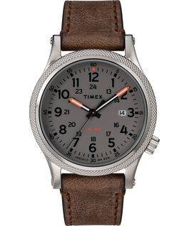 Reloj Allied LT de 40 mm con correa de cuero Plateado/Marrón/Gris large