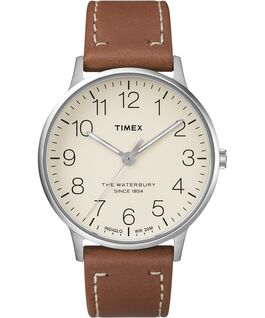 Waterbury 40mm Classic Leather Strap Watch Stainless-Steel/Tan/Cream large